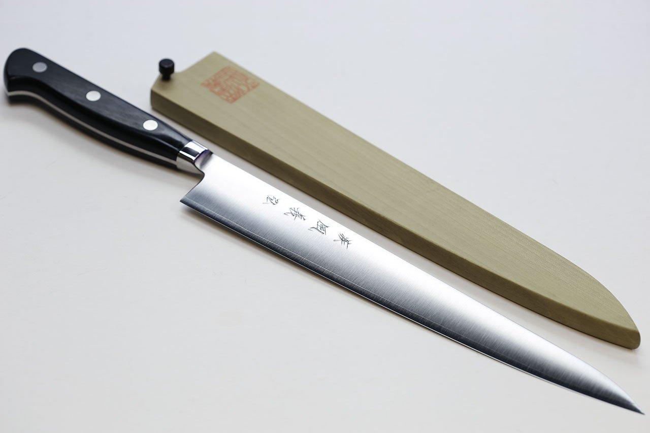 Yoshihiro High Speed Steel Sujihiki Slicer Knife (Black Pakkawood Handle) (10.5''/270mm)
