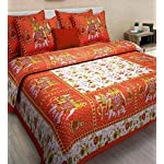 Tarun Enterprises Cotton Comfort Rajasthani Jaipuri Traditional 1 Double Bedsheets with Two Pillow Coves_(Multicolour)