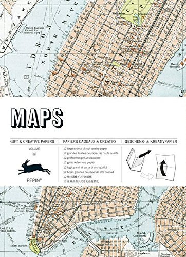 Maps : Gift and creative paper book Vol 23 (English, Spanish, French and German Edition) (Press Pepin)