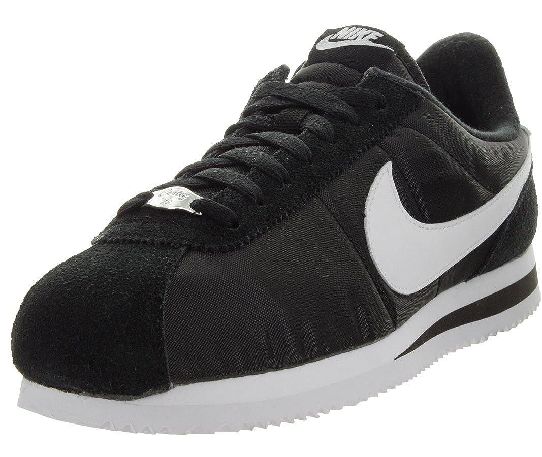 Noir blanc-metallic argent Nike Cortez Basic Nylon, Chaussures de Fitness Homme 44 EU