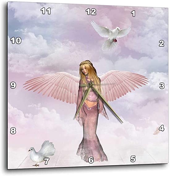3dRose Beautiful Angel with Doves – Wall Clock, 10 by 10-Inch DPP_19386_1