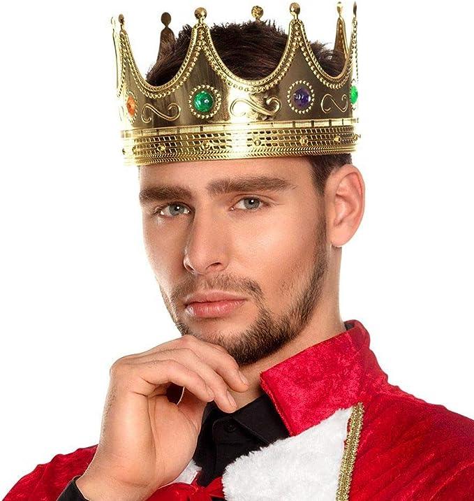Men/'s Jewelled King/'s Crown Fancy Dress Hat Henry The VIII King Arthur Stag Fun