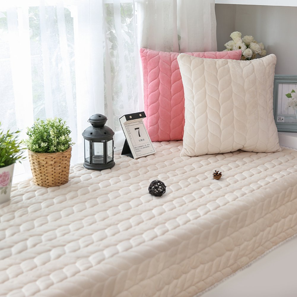 Simple modern solid color bay window cushion padded tatami mats plush seats non-slip balcony blanket sofa slipcovers-C 70x180cm(28x71inch)