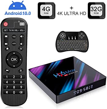 Android 10.0 TV Box, H96 MAX TV Box with 4GB RAM 32GB ROM Quad Core, Soporte 2.4G WIFI H.265 4K Smart TV Box con Mini Teclado Inalámbrico: Amazon.es: Electrónica