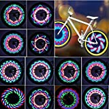 TINANA Bike Wheel Lights, LED Waterproof Bicycle Spoke Light 32-LED 32pcs Changes Patterns Bicycle Rim Tire Lights for Mountain Bike/Road Bikes/BMX Bike/Hybrid Bike/Folding Bike