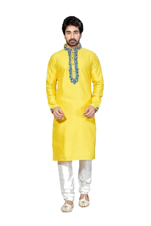 7808bb646c Amazon.com: Mens Kurta Pajama Wedding Art Dupion India Party Wear Set of  2.: Clothing