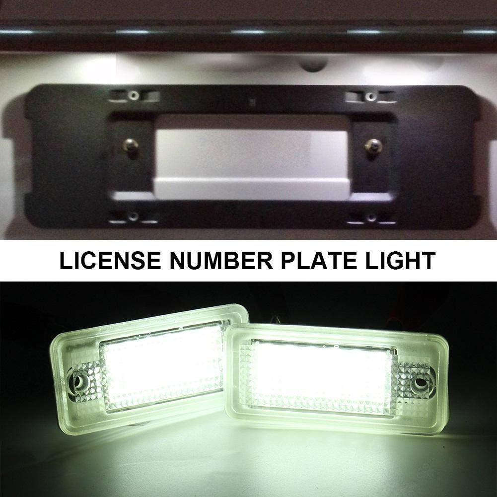 favourall 2pcs LED Luce Targa Auto Luce della Targa Bianco Luce Targa Fanale Posteriore LED Luce Portatarga Universale per Audi A3 A4 A6 A8 B6 B7 S3 Q7 RS4 RS6