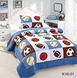 Golden Linens Twin Size Kids Bedspread Quilts for Teens Boys Printed Bedding Coverlet Sport American Football Basketball Baseball Multi color Light blue, Orange Light Brown #Twin 16-01