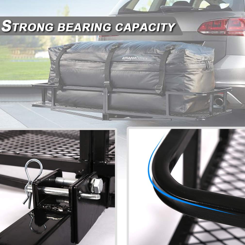 Trailer Hitch Cargo Carrier Rear 57 x 20 x 18 Heavy Duty Folding 500 Lbs Max Capacity Basket Trailer Steel Folding Cargo Rack For SUV Car Pickup