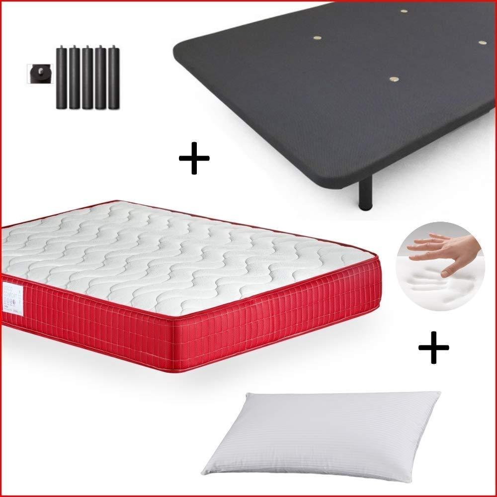 MICAMAMELLAMA Colchón Viscoelástico VISCO Confort Fresh 3D Reversible + Base Tapizada con Patas 26cm + Almohada