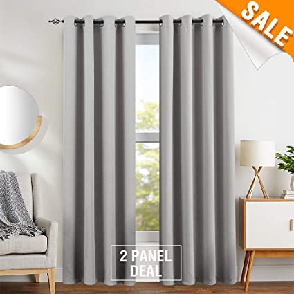 Blackout Curtains for Living Room Curtains for Bedroom Light Blocking  Triple Weave Draperies, Grommet Top, 2 Panels, 95\