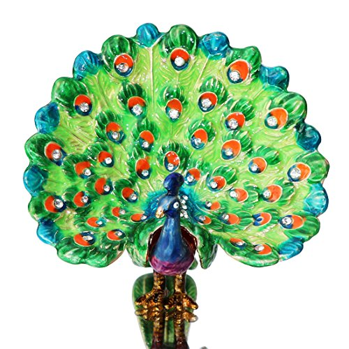 (Waltz&F Trinket Box Hinged Hand-painted the peacock spreads its tail Figurine Collectible Ring Holder with Gift Box)