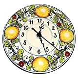 CERAMICHE D'ARTE PARRINI - Italian Ceramic Wall Clock Decorated Lemons Hand Painted Made in ITALY Tuscan Art Pottery