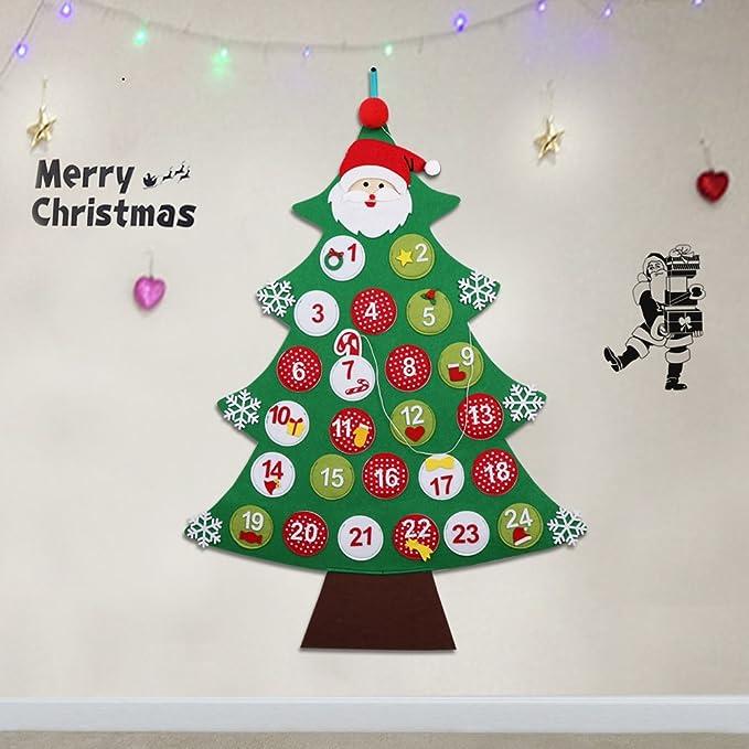 Il Calendario Di Natale Streaming.Ourwarm Feltro Albero Di Natale Calendario Dell Avvento Conto Alla Rovescia Per Natale Calendario Regali Di Natale Per Bambini Da Appendere Alla