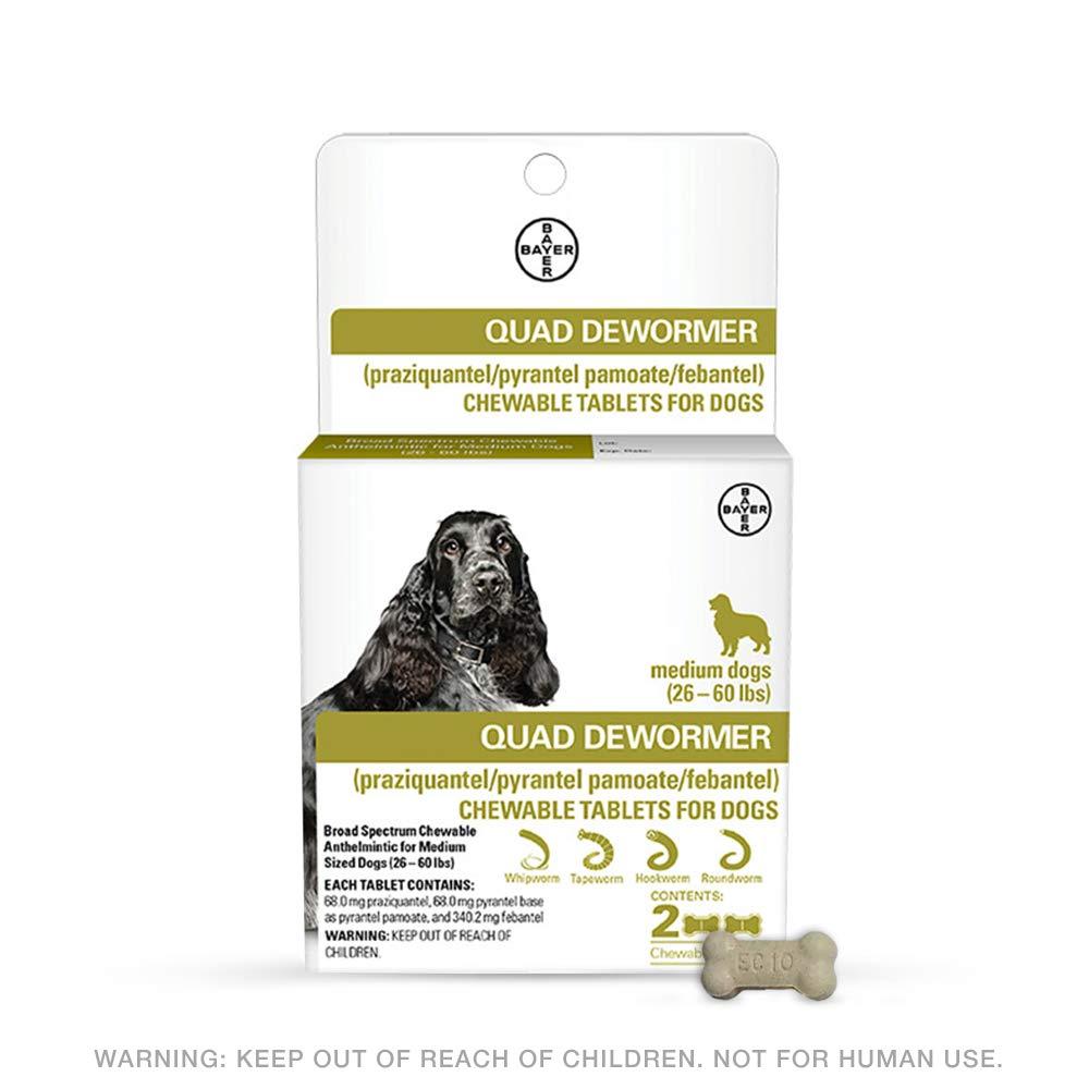 Bayer 68mg Medium 26-60 lb Dog 2 count Quad Chewable Dewormer