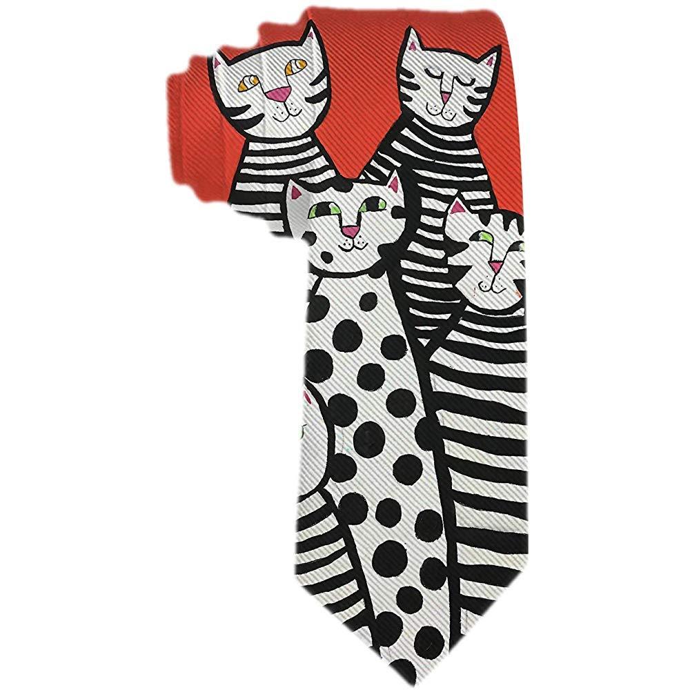 Corbata para hombre con rayas en blanco y negro Gatos y punto de ...