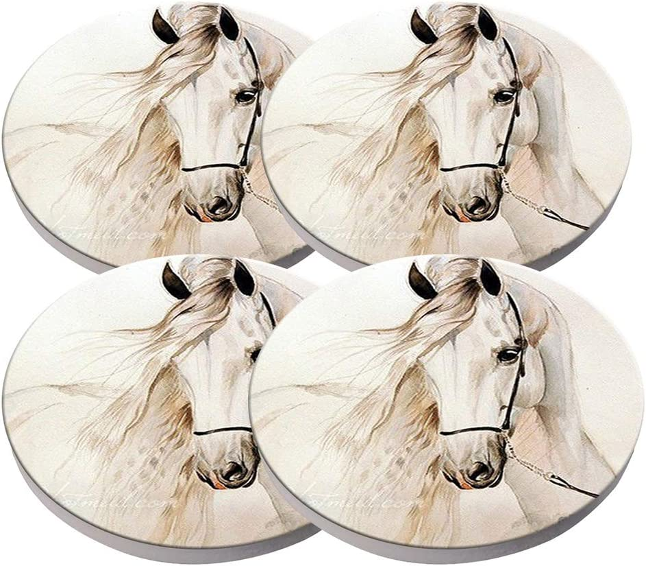 Beverage Coaster - Custom Fashion Personalized Exquisite Ceramic Coasters with Cork Liner,4 Pieces Sets (Horse White Grey)