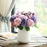 Flores Artificiales Decoración Rosas Plásticas de Seda Nupcial de la Boda para el Hogar Fiesta 8 Cabezas de Rama 10(Multi)