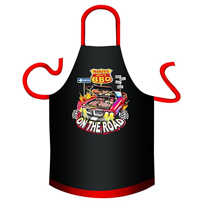 Delantal – – BBQ on the road – divertido diseño Delantal como regalo para barbacoa Fans