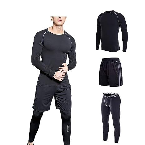 b59cc50577f Amazon.com : Romantico 4PCS Sport Suit Men Men's Gym Training ...