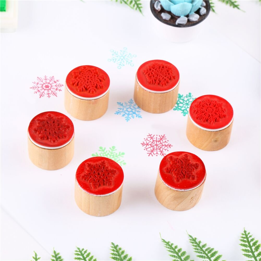 Type 7389 Sanwood 6pcs Floral Pattern Round Wooden Rubber Stamp