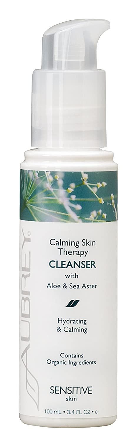Aubrey Calming Skin Therapy Facial Cleanser | Soothes & Hydrates | Sea Aster & Aloe Vera | 75% Organic Ingredients | Sensitive Skin | 3.4oz