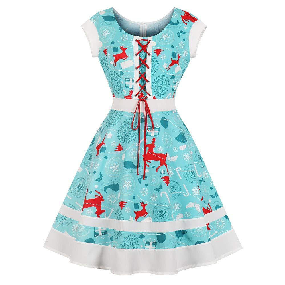 WOCACHI Christmas Dresses Womens Sleeveless Xmas Swing Dress Bandage Bow Decor WOCACHI-181101