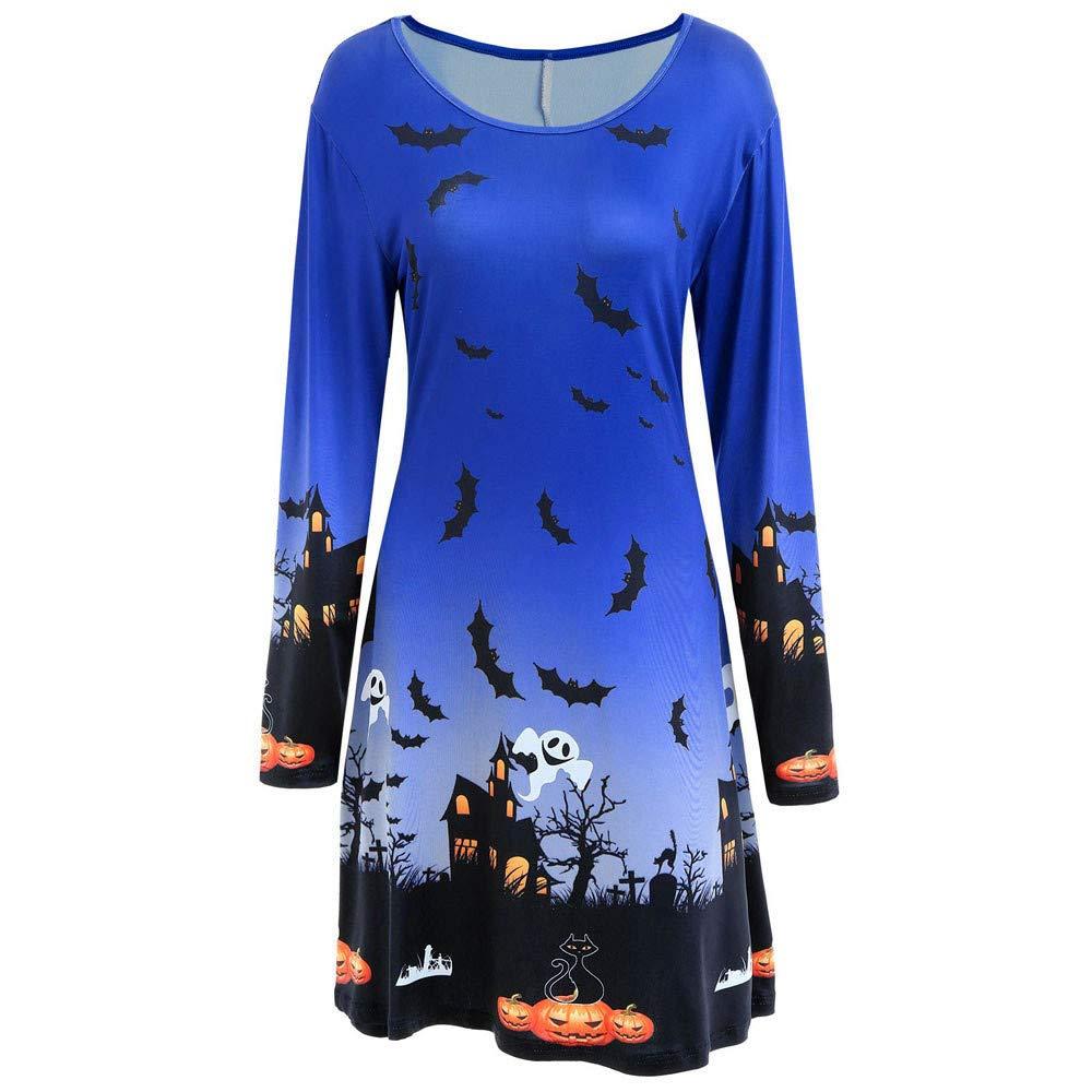kaifongfu Women's Halloween Long Sleeve Dress Evening Prom Costume Swing Dress(Blue,S)