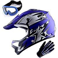 $64 » WOW Youth Motocross Helmet BMX MX ATV Dirt Bike Helmet Matt Star Blue + Goggles +…