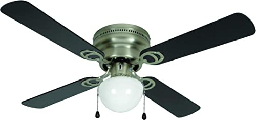 Hardware House LLC 23-8199 Aegean 42-Inch LED Ceiling Fan. Black or Light Maple Reversible Fan Blade Options. Satin Nickel Base.