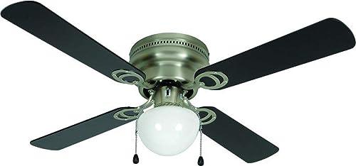 Hardware House LLC 23-8199 Aegean 42-Inch LED Ceiling Fan. Black or Light Maple Reversible Fan Blade Options. Satin Nickel Base.