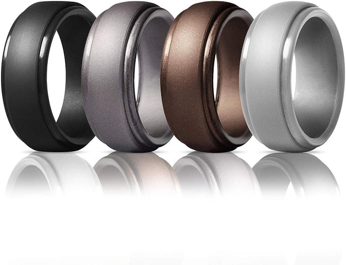 4 colori Anelli in silicone 4 pezzi unisex per donne e uomini