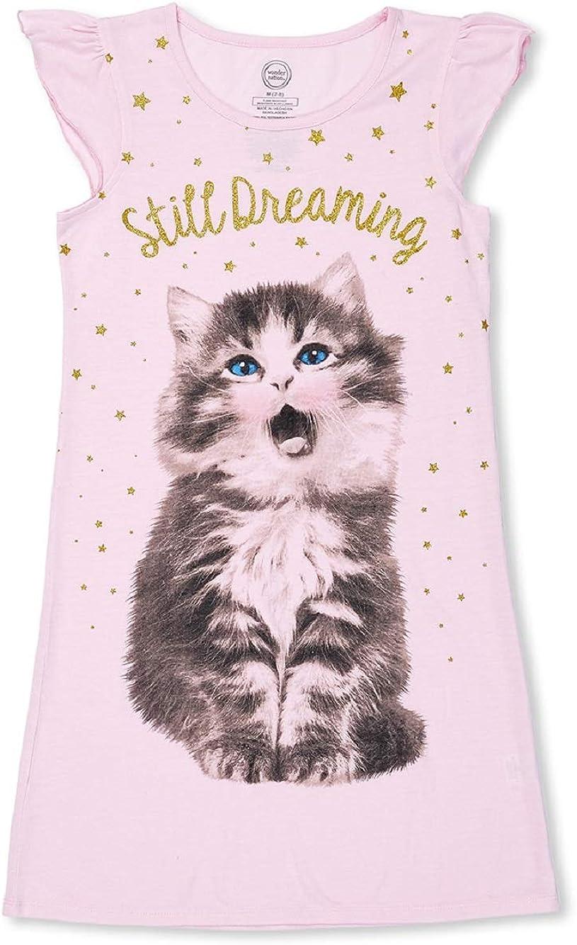 Pink M 7-8 Girls Nightgown Pajamas Summer Ruffled Sleeve Glitter Cats Kitty