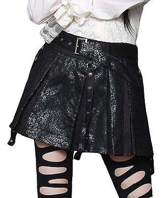 Falda Corta Negra Piel sintética con cinturón y plissures Negro ...
