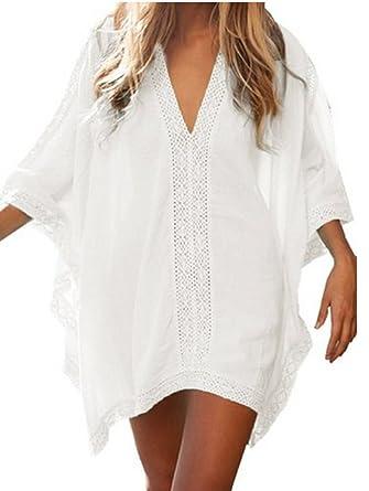88289196adaab Women's Oversized Beach Cover Up Sundress Shirt Dress: Amazon.co.uk ...