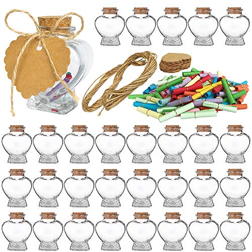 Folinstall 30 Pieces Heart Shaped Small Glass Jars with Cork Lids, Glass Favor Jars for Wedding Decoration, DIY, Home, Party Favors, Extra Coloured Paper Scrolls and Personalized Tag Strings Included ()