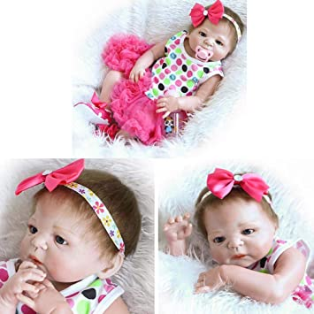"""23/"""" Beautiful Full Simulation Silicone Baby Girl Reborn Kids Doll in Dress US"""