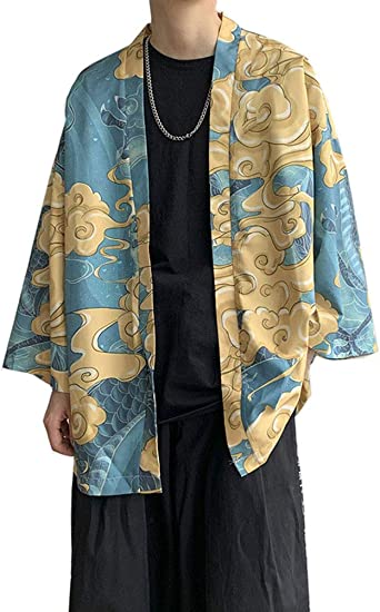 Aden Hombres Vintage Japonés Estilo Kimono Camisa Haori Chaqueta Estampado Holgado Cárdigan: Amazon.es: Ropa y accesorios