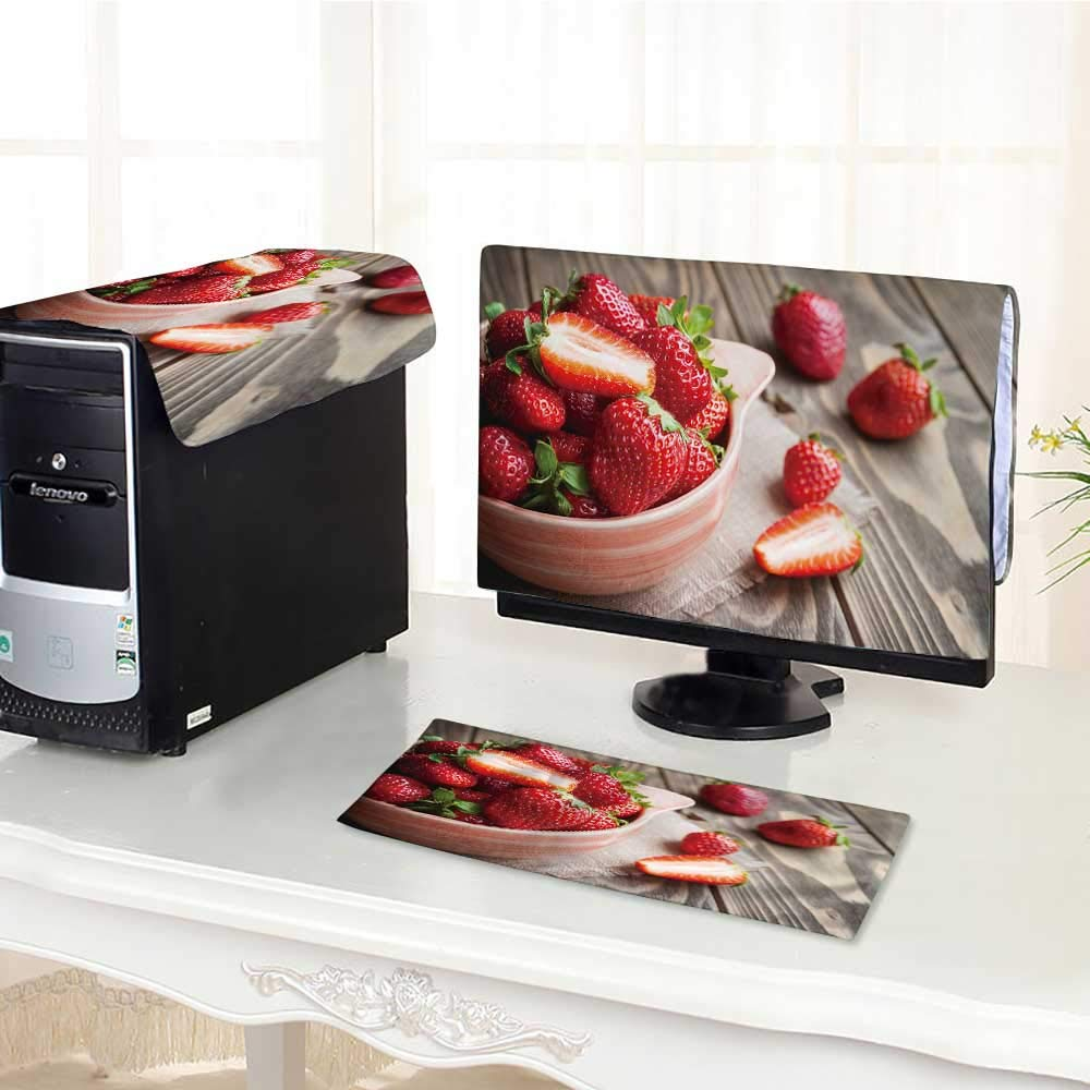 UHOO2018 One Machine LCD Monitor Keyboard Cover Strawberries in a Bowl on Wooden Table with Low Key Scene dust Cover 3 Pieces /23""