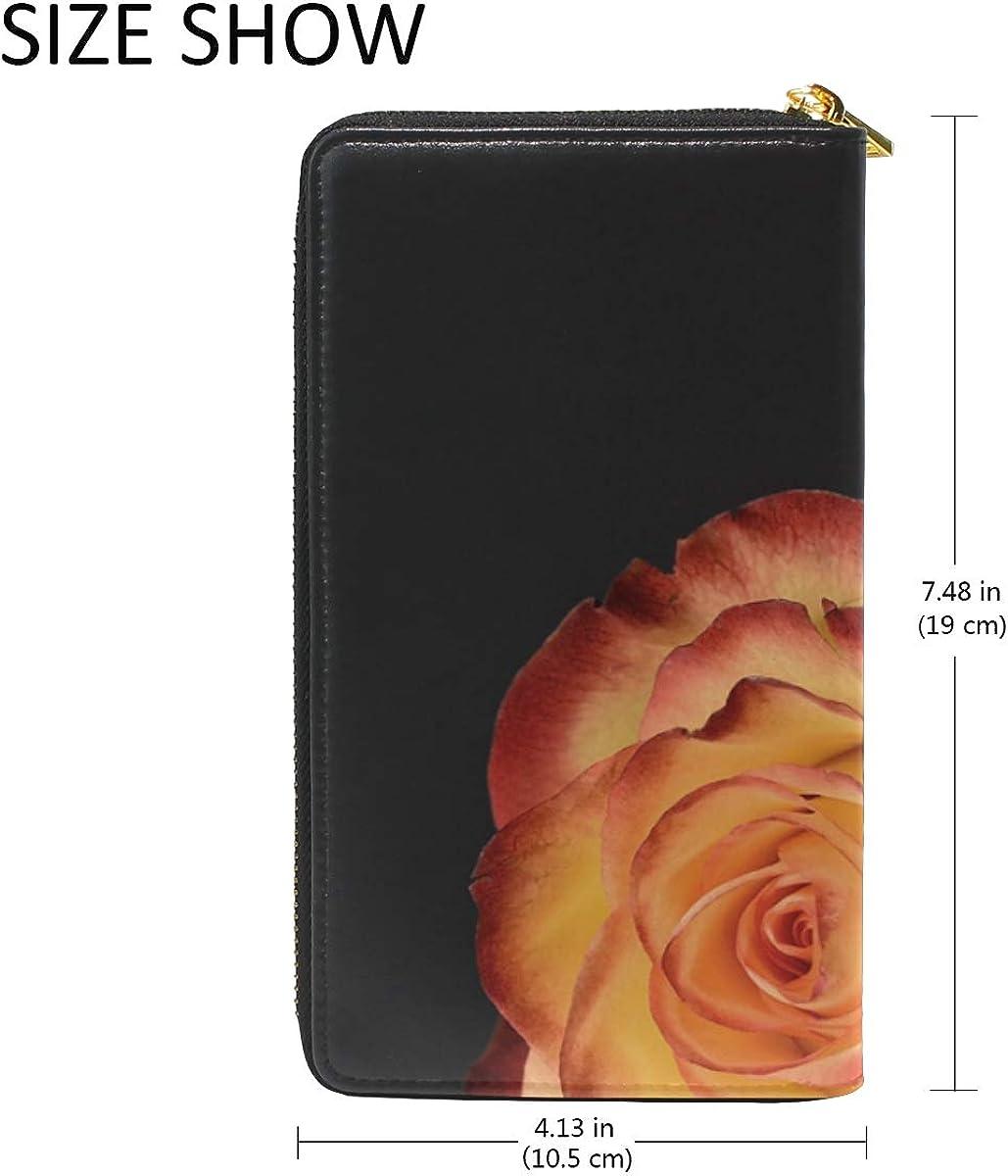 DEZIRO Rose Flower Lady Purse Zip Around Credit Card Case