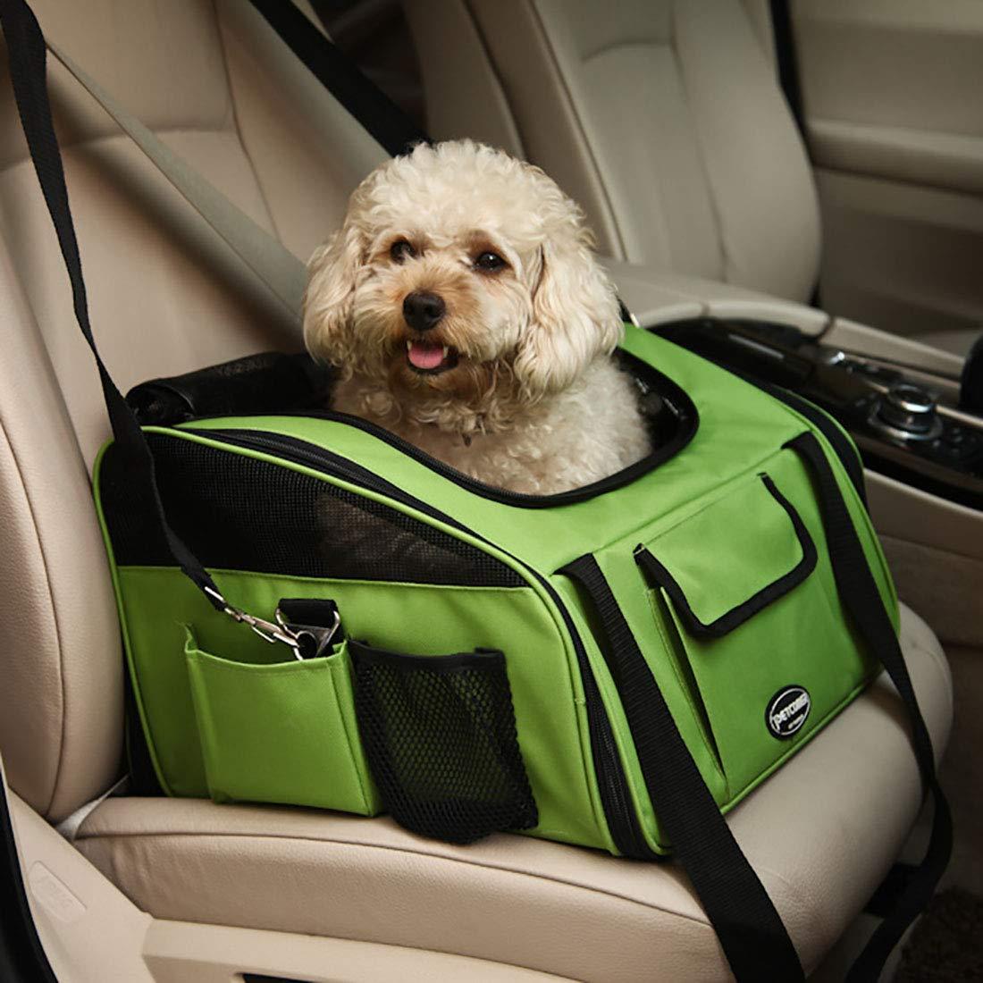 Green 40X34X26cm Green 40X34X26cm CEFUTY Pet Car Bag Kennel Car Bag Pet Bag Pet Dog Backpack Car Mat (Colore: Verde, Dimensione: 40X34X26cm)