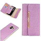 Wallet Phone Case Samsung S9,Miya Glitter Sparkle Cover with ID & Credit Card Holder and Metal Chain Detachable Phone Cover Case Pu Leather Protective Case for Women for Samsung Galaxy s9 - Purple