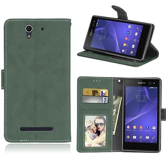 online store 32d6d 0e730 Amazon.com: BasicStock Sony Xperia C3 Case, Sony Xperia C3 Wallet ...