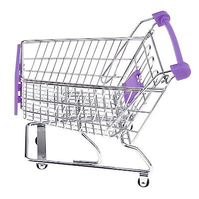Flameer Mini Shopping Cart Supermarket Handcart Shopping Utility Cart, Kids Pretend Play Toys - Purple, 16 x 13 x 14cm: Toys & Games