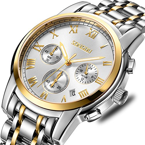 SONGDU Mens 18K Gold Plated Quartz Watch Luminous Hands Silver Dial with Stainless Steel Strap (1 Sd Silver Dust)