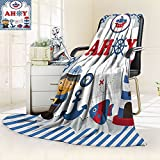 Nalohomeqq Nautical Baby Kids Toddler Decorations Collection Sea Animals Fish Ahoy Map Anchor Ship Sealight Tower Microfiber Fabric Blanket Hypoallergenic