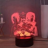 Laysinly Naruto Anime 3D LED Night Light, Kakashi Uchiha Itachi and Sasuke Sakura Shikamaru 7 Colors Desk Lamp, Child…