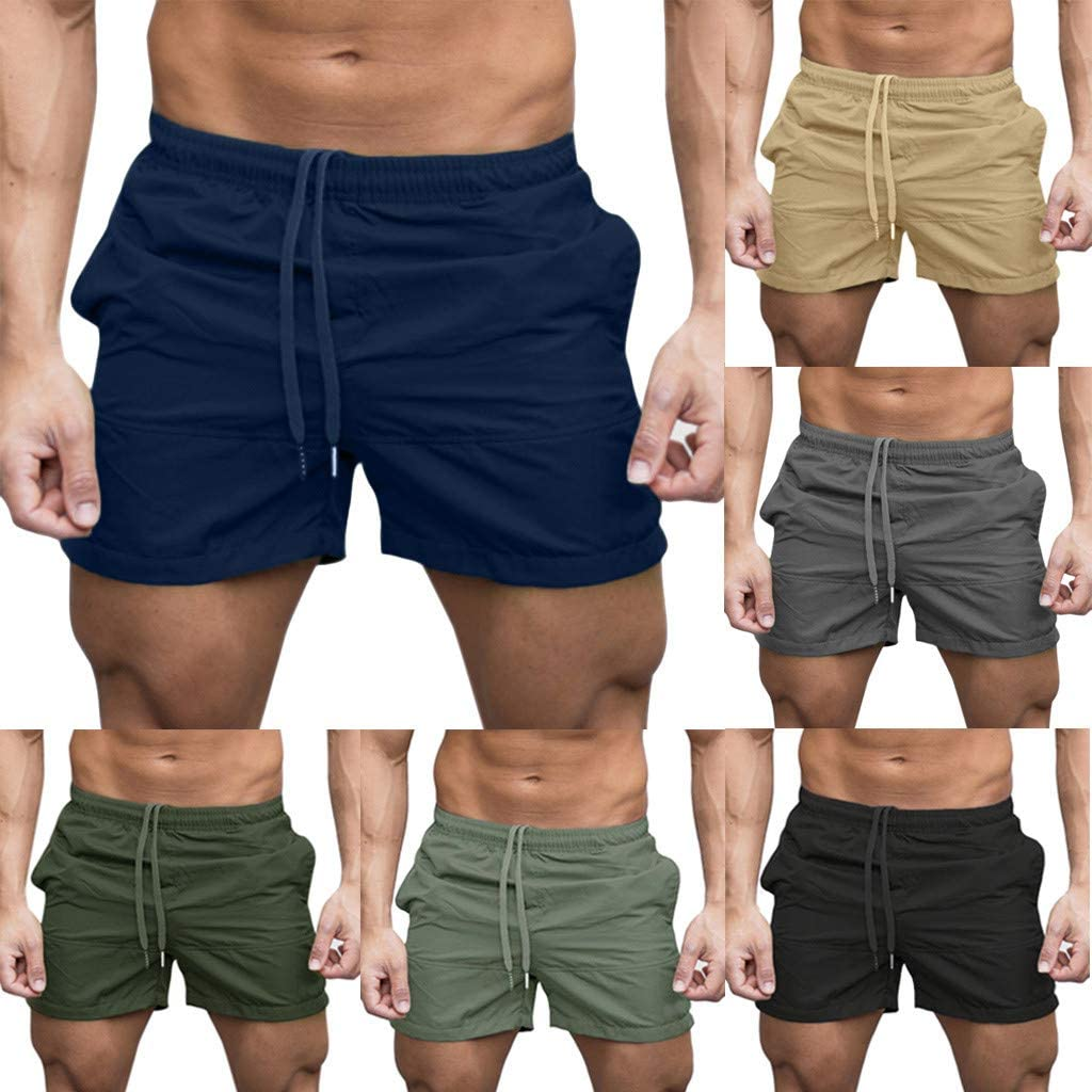 Dainzusyful Mens Gym Fitness Drying Workout Shorts Casual Sports Jogging Elasticated Waist Running Short Pants Pockets