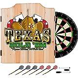 Texas Holdem Poker Design Deluxe Solid Wood Cabinet Complete Dart Set