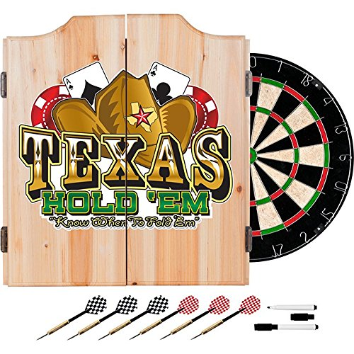 Texas Holdem Poker Design Deluxe Solid Wood Cabinet Complete Dart Set by TMG